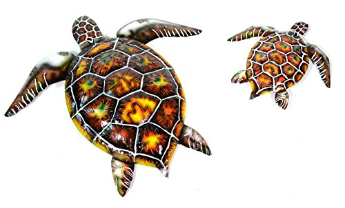 Tropical Turtle - SET OF 2 BEAUTIFUL UNIQUE SEA OCEAN TURTLE METAL TROPICAL loggerhead ISLAND WALL ART