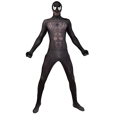 QQWE Venom Spiderman Fancy Dress Costume Cosplay Medias Corporales ...