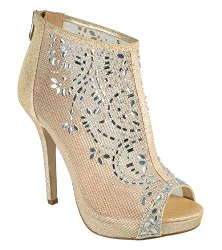 De Bloesem Collectie Marna-85 Kristal Verfraaid Mesh Bootie-stijl Hoge Hak Peep-toe Prom Dress Pump Schoenen Goud