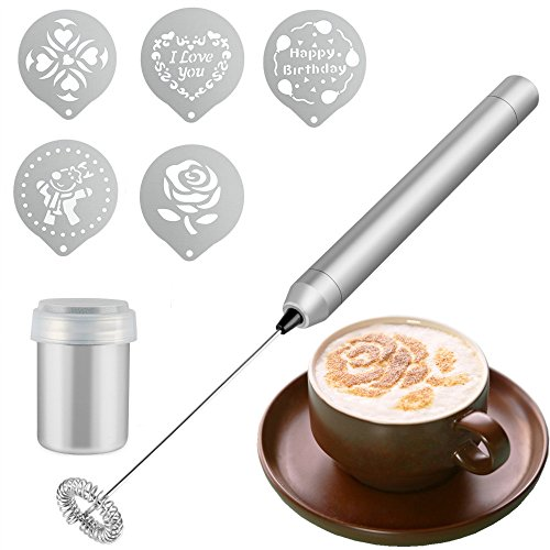 Coffee Art Set, BizoeRade Coffee Milk Frother with Chocolate Shaker and Stencils for Cappuccino, Coffee, Latte, Hot Chocolate, Cooking (Includes Mini Mixer Stand) - Art Chocolate