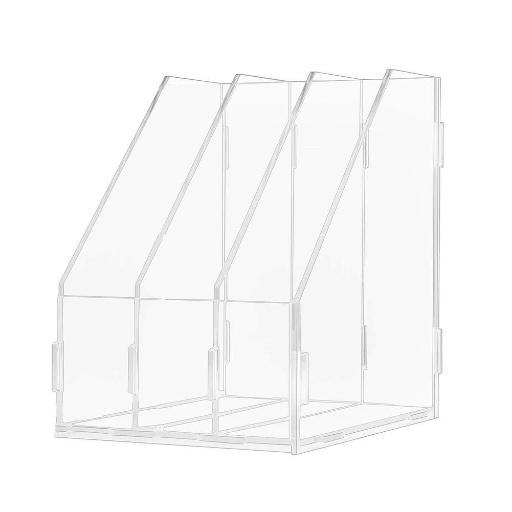 Heatleper 3 Slots Clear Acrylic A4 File Folder Rack Paper Document Magazine Holder Desk Organizer for Office School Home (3 Slots)
