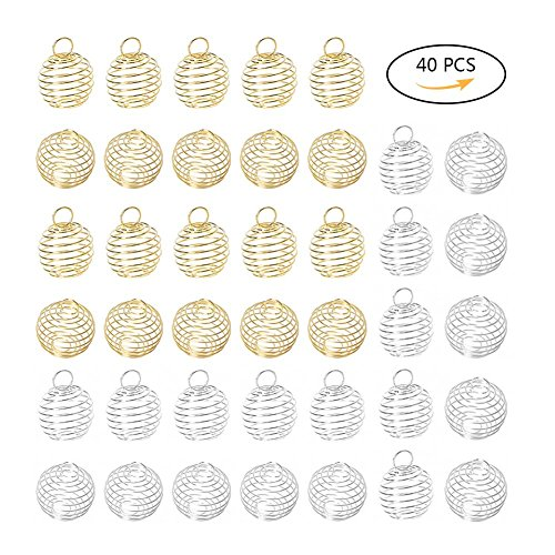 30mm Bead Chain Necklace (Loving home 40 Pcs Spiral Bead Cages Pendants For Jewelry Making,Size 25mm,30mm Color Silver,Gold)