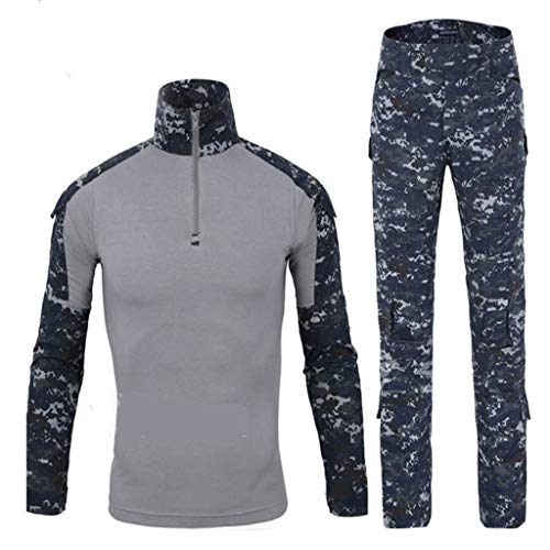 Marine Camouflage Sports Suit, Men'S Jungle Printed Sportswear Full Pants T Shirt Combat Uniform Invisible Military CS Woodland Hunting Suit Outdoor Adult Camouflage Light Hunting Suit ( Size : S )