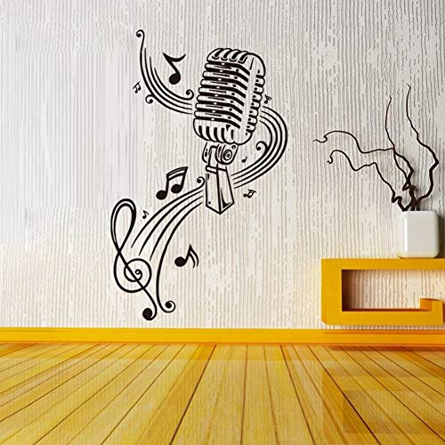 MONsin Decal Wall Sticker Microphone Music Wall Stickers Rock Pop Musical Self - Adhesive Instant Wall Decal Sticker Living Room Bedroom (A)