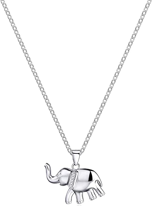 Sterling Silver Womens 1mm Box Chain Pair Of Asian Elephants Pendant Necklace
