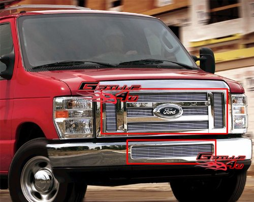 (APS Fits 2008-2014 Ford Econoline Van/E-Series Billet Grille Grill Insert Combo # F61018A)