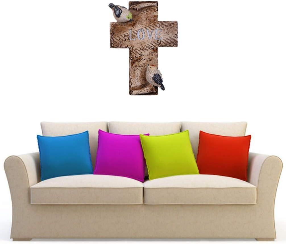 IMIKEYA Ornamento Croce di Legno Croce cattolica Cristiana Base in Legno Amore Croce intagliata Statua in Stile retr/ò Statuetta Artigianale per Bar a casa