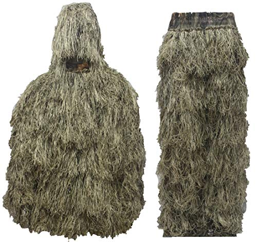 (Auscamotek Ghillie Suit Hunting Gilly for Halloween Costume Airsoft Paintball - XL/XXL Dry Grass)