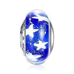 Glamulet Art - Deep Blue Starfish Glass Bead Charm -- Fits Pandora Bracelet