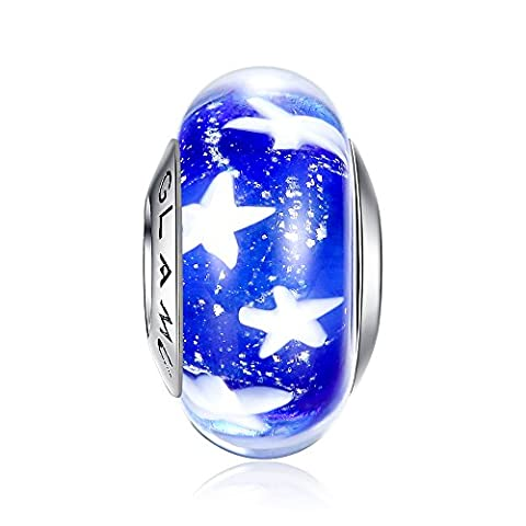 Glamulet Art - Deep Blue Starfish Glass Bead Charm -- Fits Pandora Bracelet - Deep Blue Murano Glass
