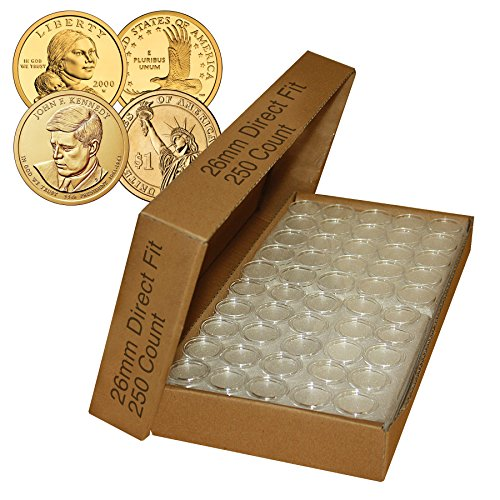 250 Direct Fit Airtight 26mm Coin Holder Capsules For PRESIDENTIAL $1 /SACAGAWEA by Merrick Mint ()