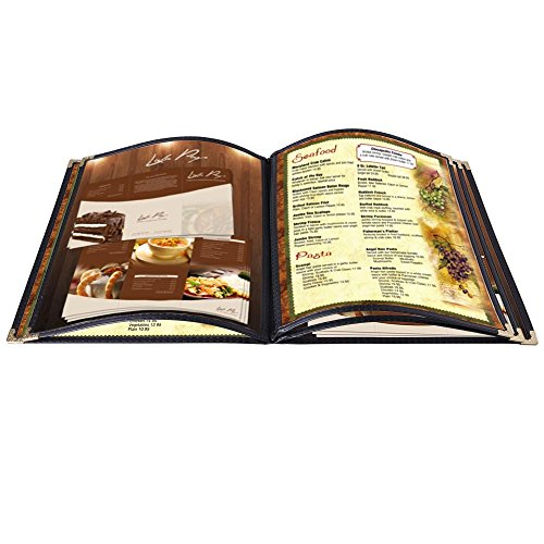 Yescom 20pcs Menu Cover 5 Pages Double Stitched 8.5x11inches 10 View Book Food Bar Restaurant Black ()