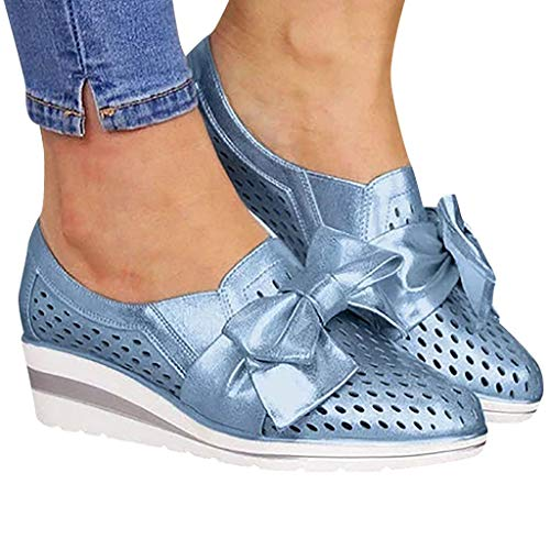 Toe Bowknot Low Cut - Cenglings Womens Casual Round Toe Breathable Wedges Loafers Bowknot Hollow Out Walking Shoes Beach Casual Platform Sandals Blue