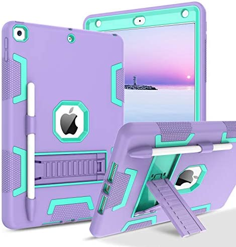 BENTOBEN iPad eighth Generation Case, iPad seventh Generation Case, iPad 10.2 2020/2019 Case, 3 in 1 Heavy Duty Rugged Shockproof Kickstand Hybrid Three Layer Protective Cover with Pen Holder, Purple/Green
