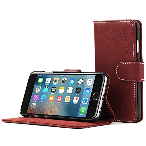 iPhone 6 Plus and 6S Plus Case, Snugg Dusty Cedar Red Leather Flip Case [Card Slots] Executive Apple iPhone 6 Plus and 6S Plus Wallet Case Cover and Stand - Legacy Series