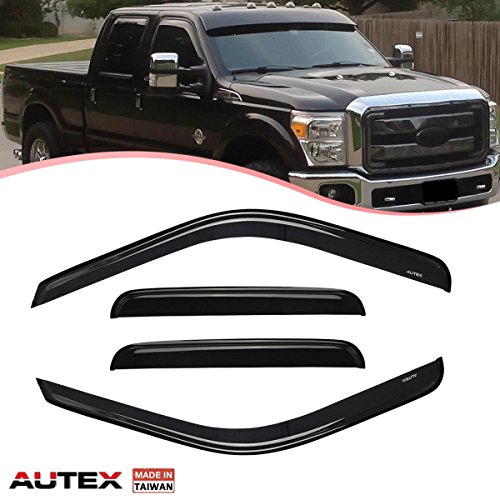 AUTEX 4Pcs Tape On Window Visor Compatible with Ford F250 F350 F450 F550 Super Duty Crew Cab 1999 2000 2001 2002 2003 2004 2005 2006 2007 2008 2009 2010 2011 2012 2013 2014 2015 2016 Window Deflector