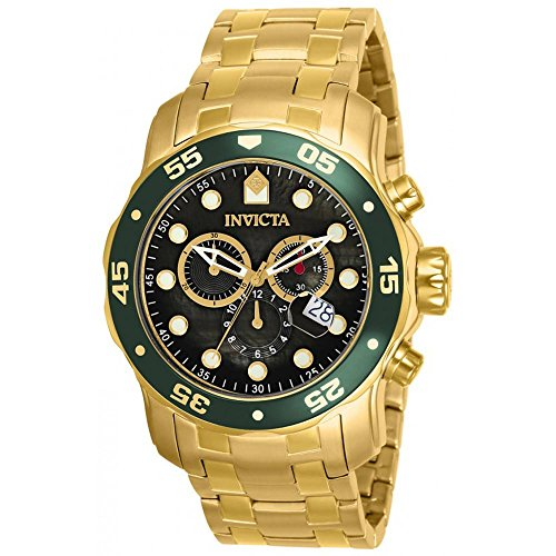 Sapphire Diver Chronograph - Invicta Mens Pro Diver Scuba Swiss Chronograph Black Dial 18k Gold Plated Watch 80074