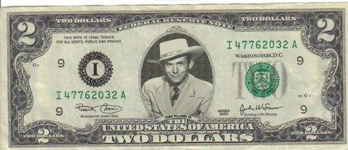 Hank Williams Sr $2 Dollar Bill Mint! Rare! $1