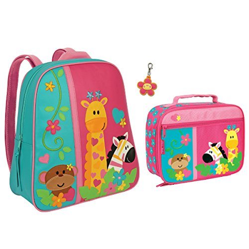 Stephen Joseph Girls Safari Animals Backpack and Lunch Box with Zipper (Safari Lunch)