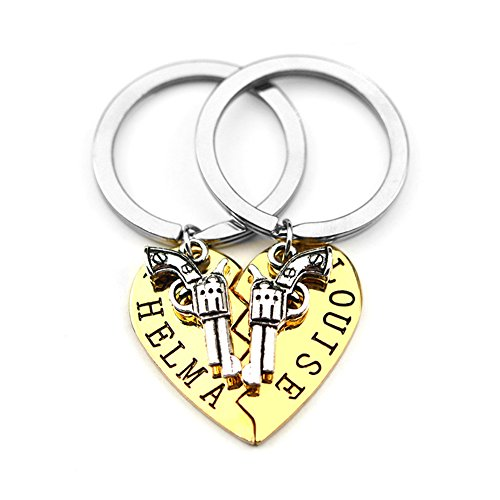 Thelma and Louise Revolver Charm Broken Heart Puzzle Keyring Keychain Set for Best Friends