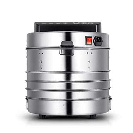 Deshidratador de alimentos cilíndrico eléctrico de acero inoxidable digital con 3 bandejas temporizador de baja energía