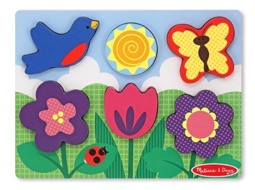 Melissa & Doug Flower Garden Wooden Chunky Puzzle (6 pcs) (Insects Wooden Chunky Puzzle)