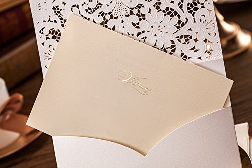 Doris Home 100pcs Ivory Horizontal Laser Cut Wedding Invitation with Hollow Flora Favors (pack of 100pcs) by Doris Home (Image #2)