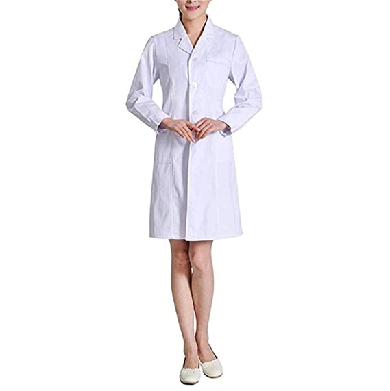 Unisex Bata Médico Laboratorio Farmacia Enfermera Sanitaria de Trabajo con Manga Larga Blanca para Mujer