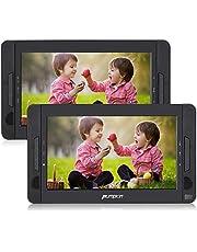 Pumpkin 10.1 Pulgadas Reproductor de DVD CD Portátil con 2 Pantallas y 2 Auriculares, Compatible con USB y Tarjeta SD, Negro