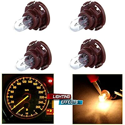 cciyu 4 Pack Neo Wedge Halogen Instrument Dash A/C Climate Control Light Bulbs 12V (T5/T4.7 brown): Automotive