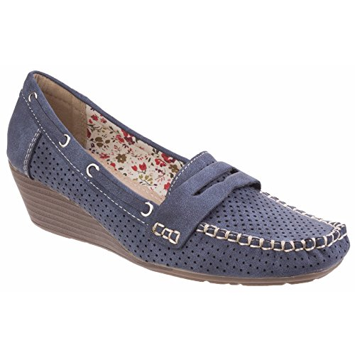 Moccasin Fleet Ladies Womens amp; Wedge Navy Primitivio Foster WfWqRvxY