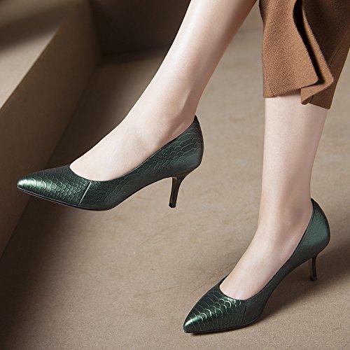 de de Solo serpiente y Transpirable Treinta nueve mujer Moda Joker Sandalias elegante Patron Tacon de Zapatos los Green zapatos alto fino zapatos 37 tacon AJUNR boca la Poca Commuter 7cm q8Pvwp