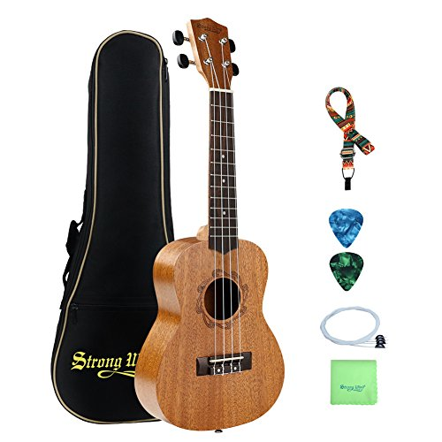 Mahogany Soprano Ukulele Starter Kit Bundle with Gig Bag, Polishing Cloth, Extra set of Nylon Strings, Strap and Picks