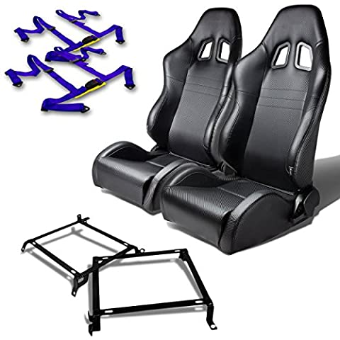 Honda CRX Pair of PVC Leather Racing Seats (Carbon Fiber Look)+Seat Bracket+4-Point Blue Belt - 89 Passenger Side Bracket