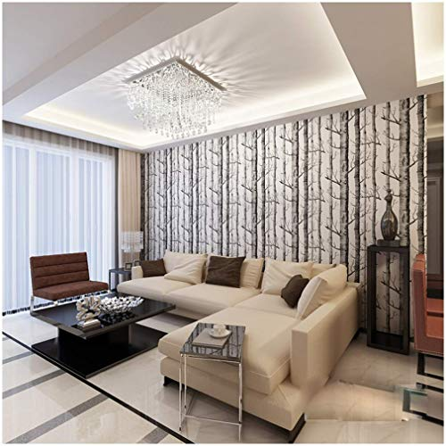 Q QIHANG Modern Minimalist Tree Pattern Non-Woven Wallpaper Roll Black & White Color 0.53m(20.8