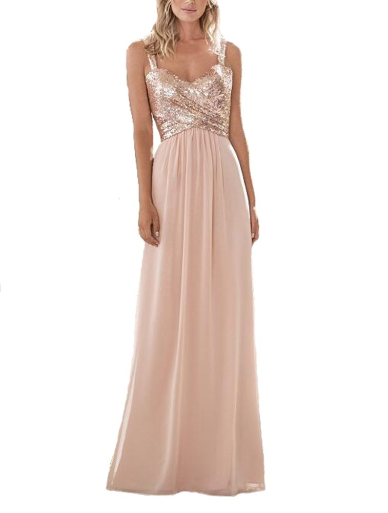 Lilyla Women S Rose Gold Sequined Long Short Bridesmaid Dress A Line Sweetheart Prom Dresses Blush Pink Us0