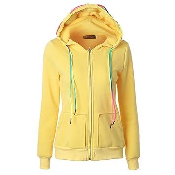 Las mujeres moda chaqueta otoño invierno abrigo terciopelo con capucha Outwear cremallera abrigo (L2,