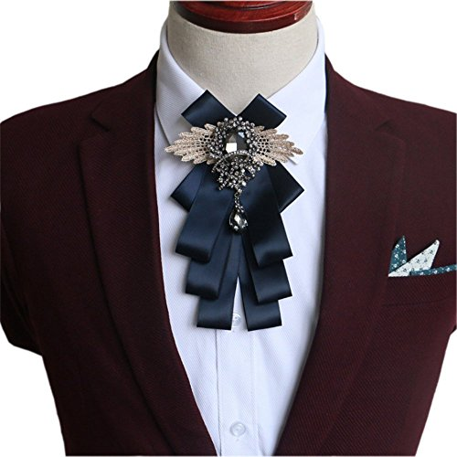 YanLen Bow Tie Fashion Bow Tie For Wedding Party (Navy (Ribbon Tie)