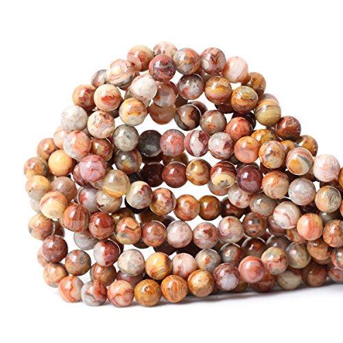 Qiwan 45PCS 8mm Natural Red Crazy Lace Agate Gemstone Loose Beads Crystal Energy Stone Healing Power for Jewelry Making 1 Strand 15