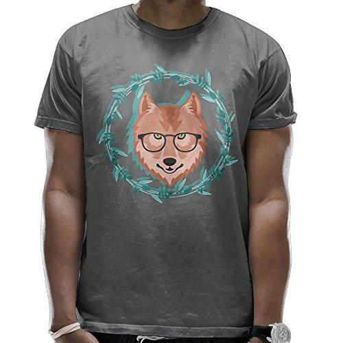 Men's Eyeglasses Brown Wolf Short Sleeve Shirts T-Shirt Tops - Dries Noten Van Glasses