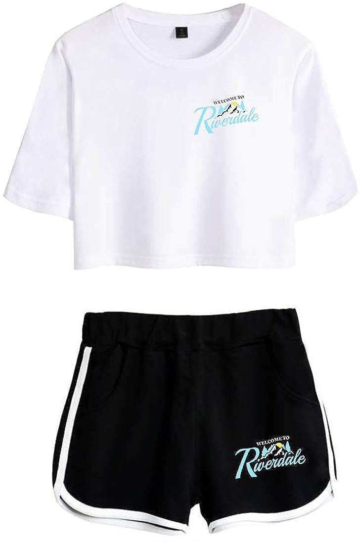 EMILYLE Ni/ñas Chicas Riverdale Serpiente South Side Camiseta Tshirt Conjunto De Top Y Pantalones Cortas
