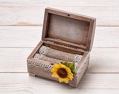 - Sunflower Wedding Box, Rustic Ring Bearer Pillow, Wooden Ring Box, Wedding Ring Holder, Wedding Keepsake Box, Jewelry Box, Matrimonial Box