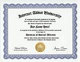 Internet Addict Online Addiction Degree: Custom Gag Diploma Doctorate Certificate (Funny Customized Joke Gift - Novelty Item)