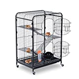 "PawHut 37"" Pet Cage Rabbit Cat House Playpen 2 Doors Tray Animal Supply"