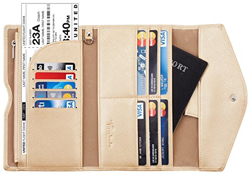 Travelambo Rfid Blocking Passport Holder Wallet & Travel Wallet Envelope 7 Colors (champagne (Ticket Case)