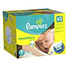 Pampers Swaddlers Diapers Size 1 Economy Pack Plus, 216 Count (One Month Supply)