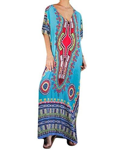 Stylish Dress Swing Split Floral Line Flared V Bat A Pattern1 Women Coolred Sleeve Neck Spring q8g18