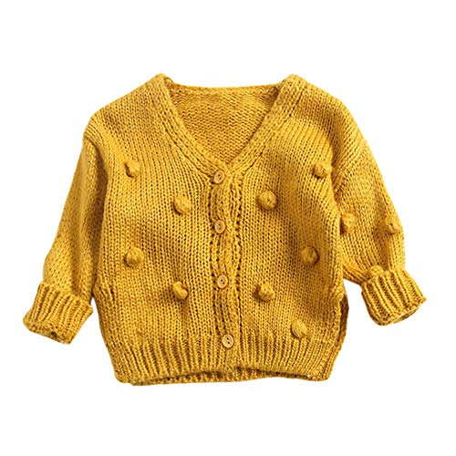 - Dream mimi 2019 Cute Baby Kids Girl Child Winter Ball in Hand Down Sweater Jacket Knit Tops Cardigan(Yellow,100)