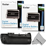 Vivitar MB-D12 Battery Grip for Nikon D800 D800E D810 DSLR Cameras + 2 Vivitar EN-EL15 Batteries (Nikon MB-D12 and EN-EL15 Replacements) + MagicFiber Microfiber Lens Cleaning Cloth