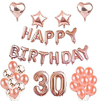 Weimi 30th Birthday Decorations Rose Gold For Women Inflating Foil HAPPY BIRTHDAY Banner Star Heart
